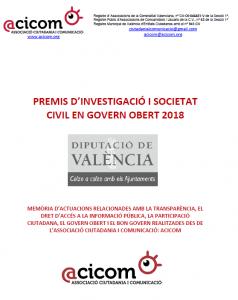 Portada document presentat I Premis GO