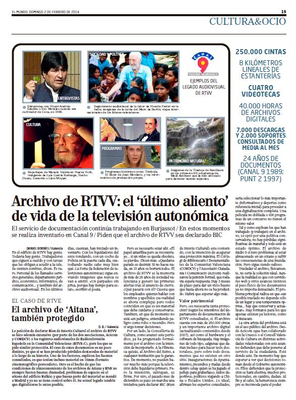 Article publicat en El Mundo el diumenge dia 2 de febrer de 2014