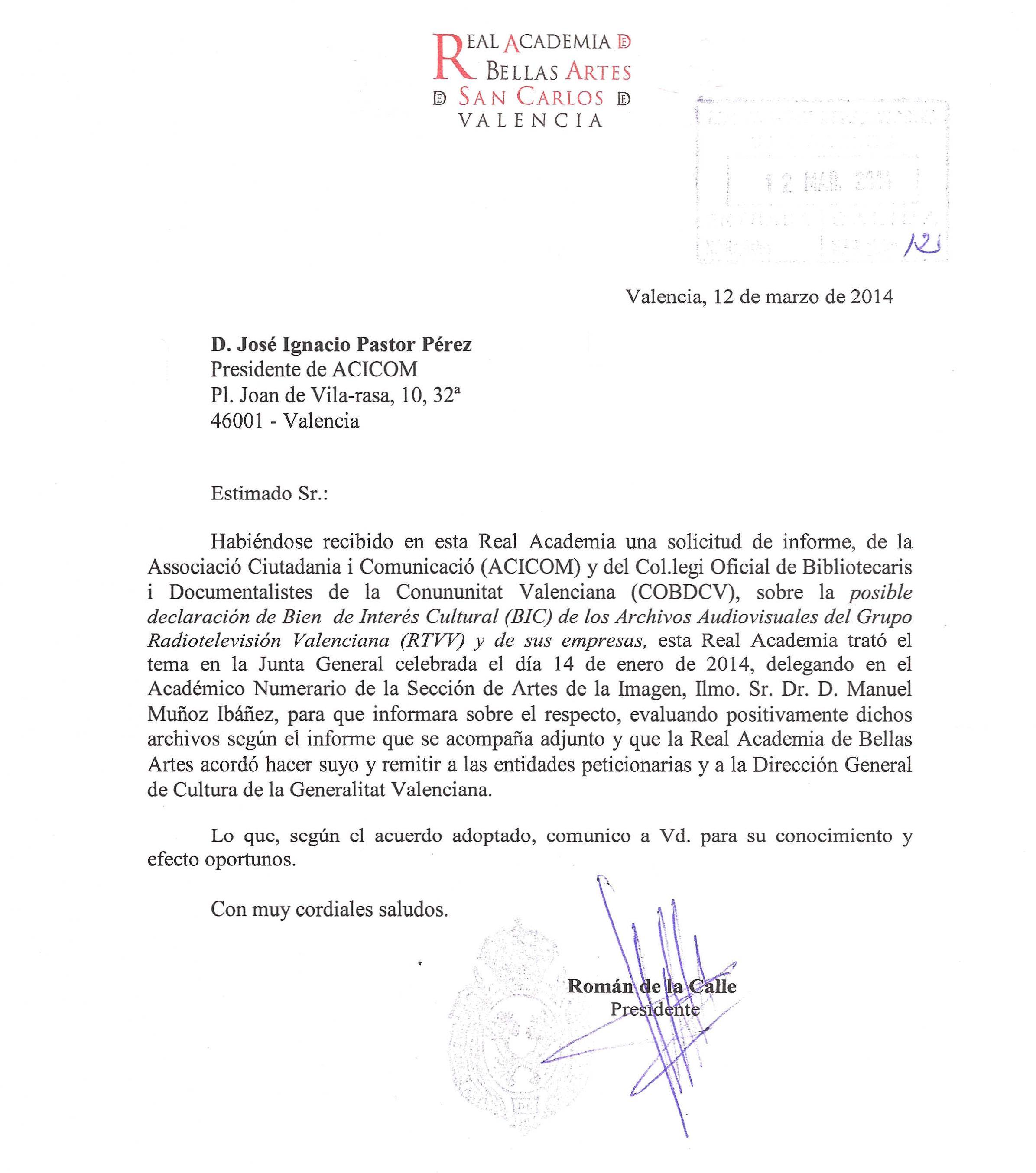 20140312 Reial Acadèmia de Belles Arts de Sant Carles a ACICOM 1 de 2
