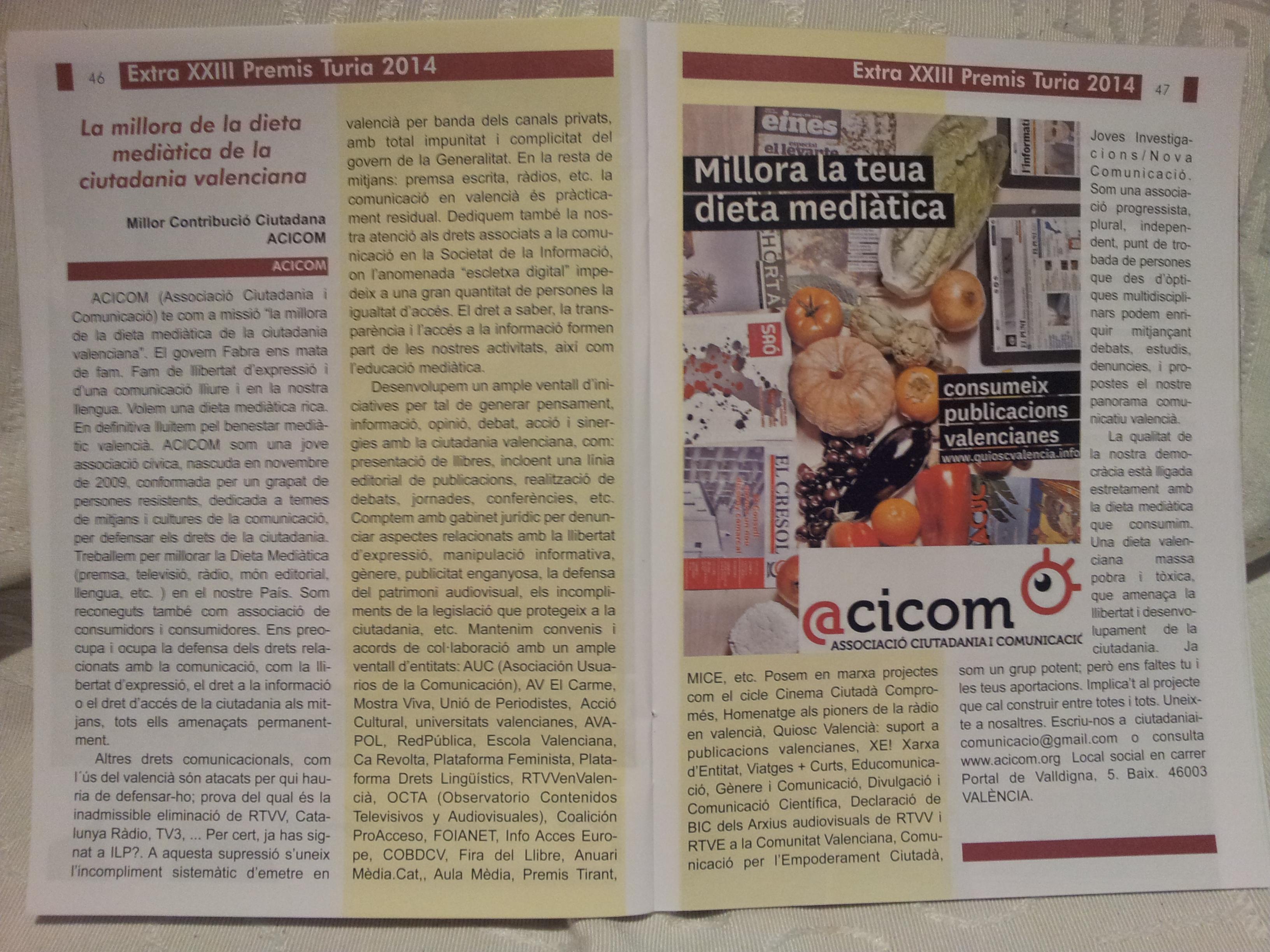 Article en Extra XXIII Premis Turia 2014