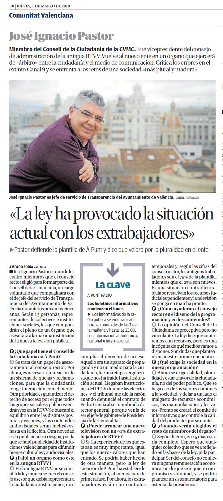 20180301 Levante EMV pag 10 Entrevista a Jose Ignacio Pastor Consell de la Ciutadania retallat