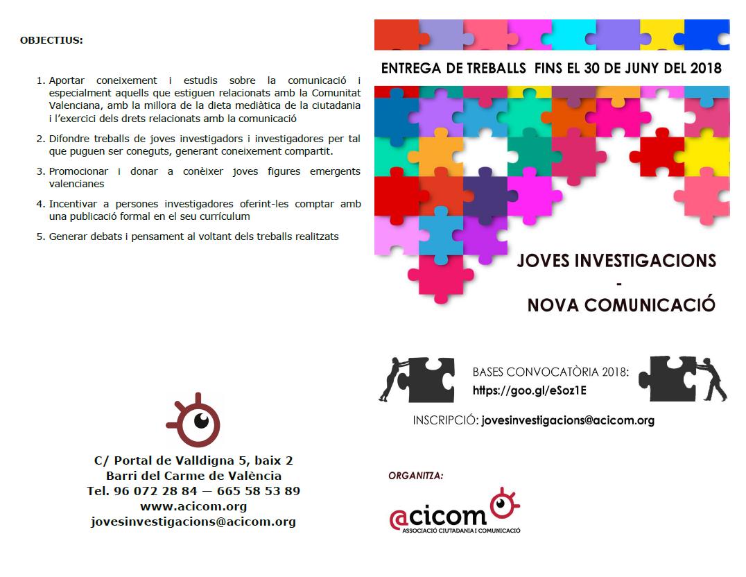 Bases Joves Investigacions Nova Comunicació 2018 anvers