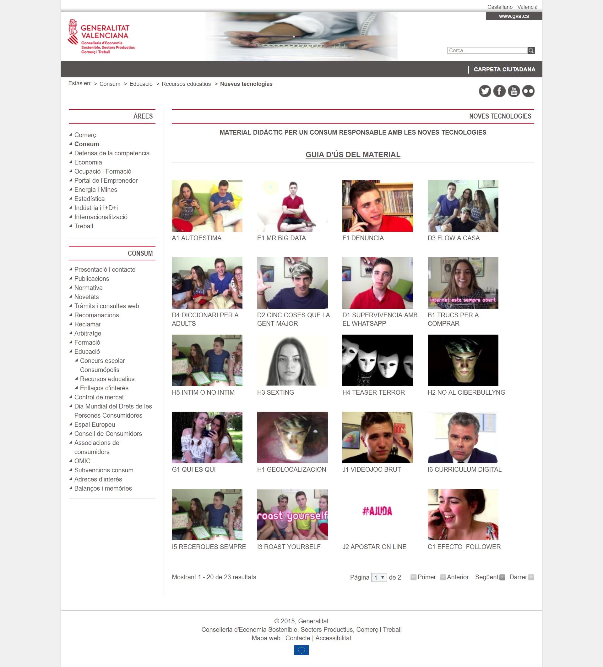 Captura de pantalla web Conselleria CONSUM ACADEMY