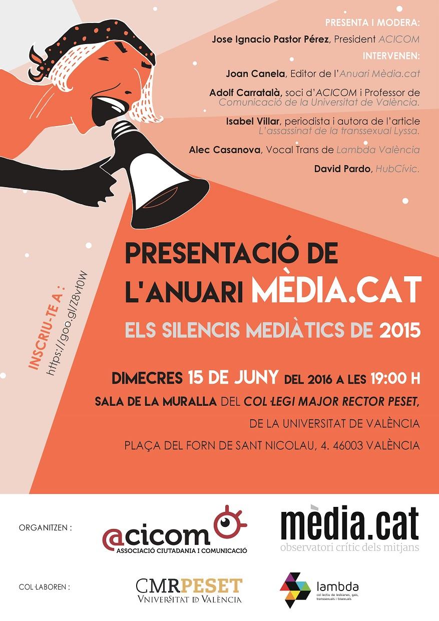 Cartell Presentació Anuari Mèdia Cat Els silencis mediàtics de 2015 red