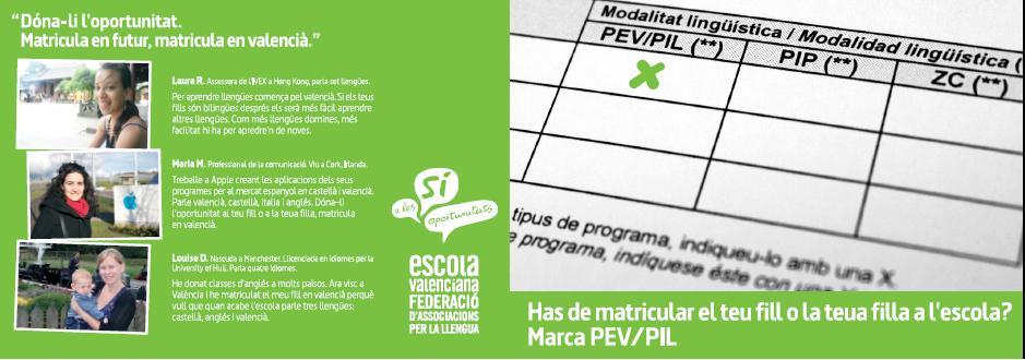 Tríptic de la campanya en valencià