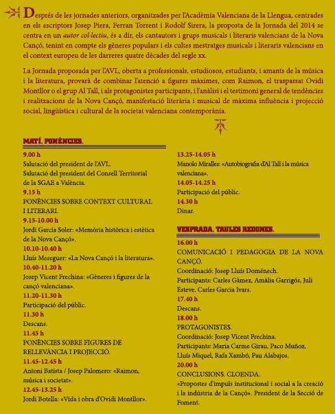 Programa Jornada Escriptors Valencians NOVA CANÇÓ