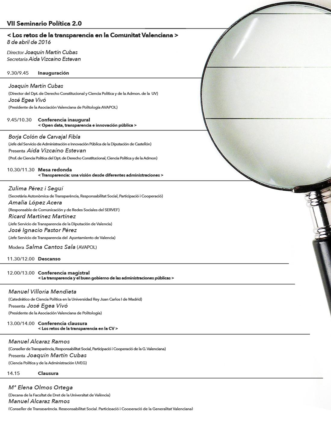 VII Seminario de Política 2.0. Los retos de la transparencia en la Comunitat Valenciana. Programa