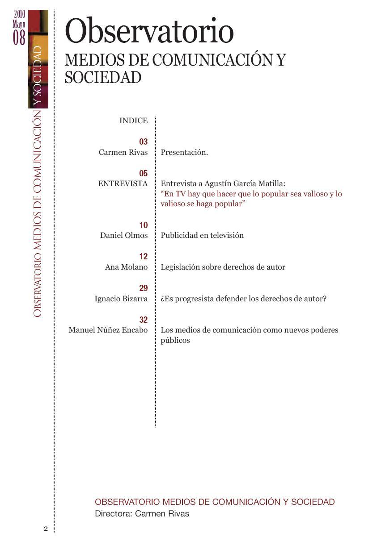 Índex del número 8 del Observatorio de Medios de Comunicación y Sociedad